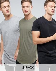3 удлиненные футболки с асимметричным краем Jack & Jones Originals - СКИДКА - Мульти