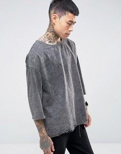 Свободная футболка с рукавами 3/4 ASOS - Серый