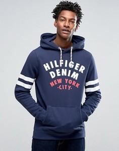 Худи с логотипом и полосками на рукавах Hilfiger Denim - Темно-синий