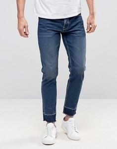 Укороченные узкие джинсы с необработанными краями ASOS - Синий