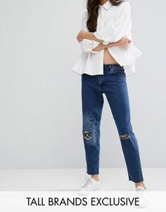 Рваные джинсы бойфренда с заплатками Waven Tall - Синий