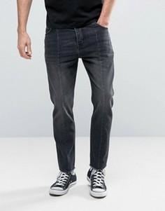Черные выбеленные укороченные джинсы с необработанными краями ASOS - Черный