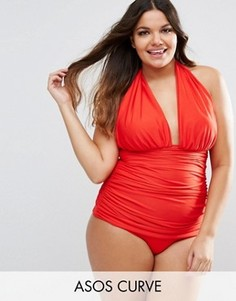 Драпированный слитный купальник с завязкой на шее ASOS CURVE - Красный