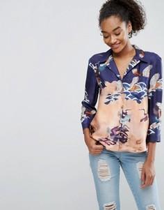 Блузка в пижамном стиле с принтом птиц ASOS Premium - Мульти