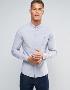 Голубая приталенная оксфордская рубашка с логотипом ASOS - Синий