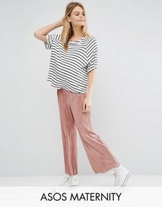 Укороченные широкие брюки плиссе для беременных ASOS Maternity - Розовый