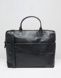 Черный кожаный портфель с одним отделением Royal RepubliQ - Черный
