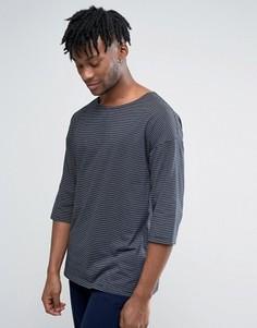 Oversize-футболка в полоску с рукавами 3/4 ASOS - Темно-синий