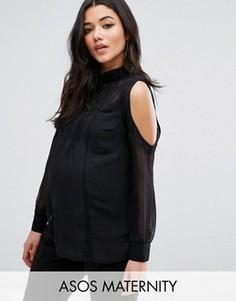 Блузка с вырезами на плечах и кружевной отделкой ASOS Maternity - Черный