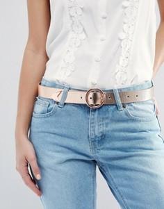 Ремень для джинсов с круглой пряжкой и уголком ASOS - Рыжий