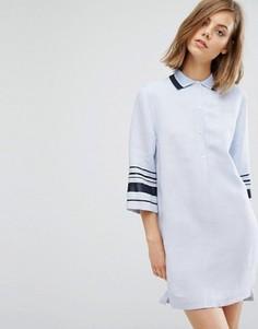 Платье-рубашка с полосками на рукавах Wood Wood Caitlin - Синий