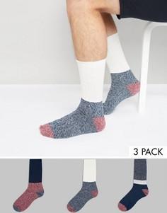 3 толстые пары носков в рубчик ASOS - Синий