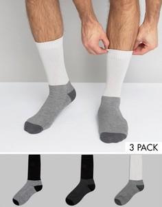 3 пары монохромных толстых носков с широкими манжетами в рубчик ASOS - Мульти
