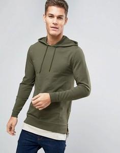 Обтягивающее худи с молниями по бокам и футболка ASOS - Зеленый