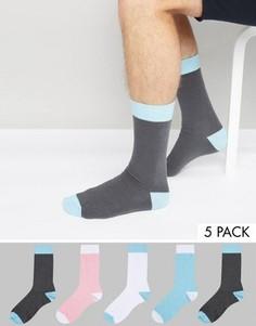 Набор из 5 пар носков пастельных оттенков ASOS - Мульти