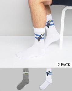 2 пары спортивных носков с гамбургерами и туканами ASOS - Мульти