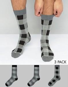 3 пары носков в монохромную клетку ASOS - Мульти