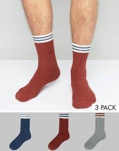 Набор из 3 пар толстых носков с отворотом ASOS - Мульти