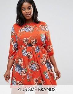 Короткое приталенное платье с цветочным принтом Koko Plus - Оранжевый