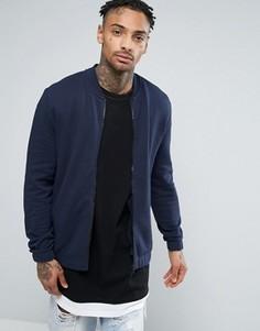 Темно-синяя трикотажная куртка‑пилот ASOS - Темно-синий