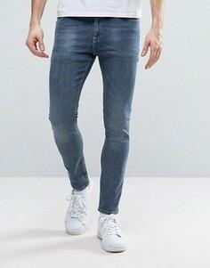 Синие выбеленные укороченные джинсы супероблегающего кроя ASOS - Синий