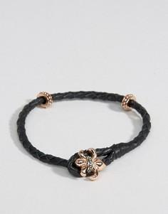 Черный кожаный браслет с геральдической лилией Rebel Heritage - Черный