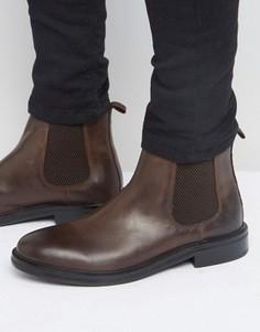 Коричневые кожаные ботинки челси с массивной подошвой ASOS - Коричневый