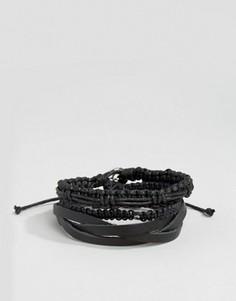 Набор черных кожаных и плетеных браслетов Icon Brand - Черный