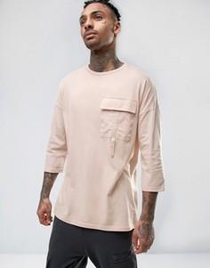 Oversize-футболка с рукавами 3/4 и карманом в стиле милитари ASOS - Розовый