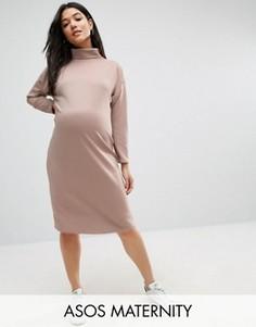 Платье миди в рубчик для беременных ASOS Maternity - Бежевый