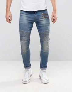 Супероблегающие джинсы с двумя молниями и байкерской отделкой ASOS - Синий