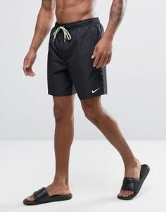 Черные шорты для плавания с тисненым логотипом Nike Core - Черный