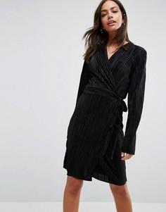 Плиссированное платье с длинными рукавами и запахом Liquorish - Черный