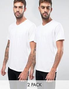 2 белых свободных футболки с V-образным вырезом BOSS Black By Hugo Boss - Белый