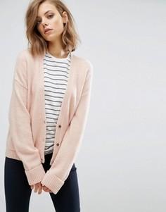 Кардиган с добавлением шерсти и карманами ASOS - Розовый