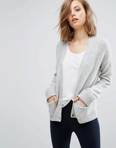 Кардиган с добавлением шерсти и карманами ASOS - Серый