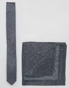 Узкий галстук и платок-паше с принтом пейсли ASOS - Черный