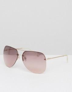 Солнцезащитные очки-авиаторы без оправы с розовыми стеклами ASOS - Розовый