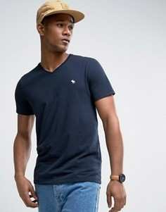 Темно-синяя узкая футболка с V-образным вырезом Abercrombie & Fitch - Темно-синий