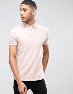 Розовая футболка-поло с воротником на пуговицах ASOS - Розовый