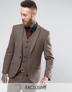 Пиджак скинни из харрис-твида Heart & Dagger - Коричневый