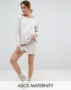 Меланжевые трикотажные шорты для беременных ASOS Maternity LOUNGE - Бежевый