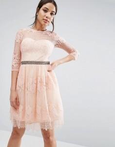 Платье с рукавами 3/4 и кружевной накладкой Little Mistress - Розовый