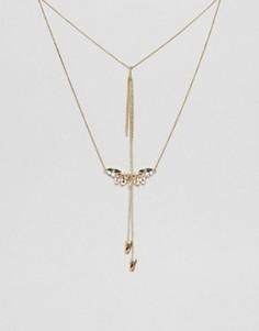 Ярусное ожерелье с двумя подвесками Johnny Loves Rosie - Золотой