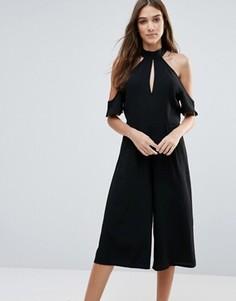 Комбинезон с юбкой-шортами и открытыми плечами Influence - Черный