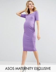 Платье с открытыми плечами для беременных ASOS Maternity - Фиолетовый