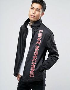 Легкая куртка Харрингтон с принтом в виде текста Love Moschino - Черный