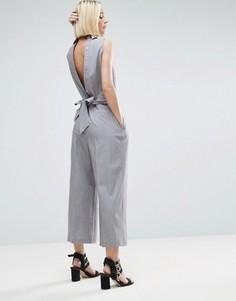 Комбинезон-рубашка с завязкой сзади ASOS - Серебряный