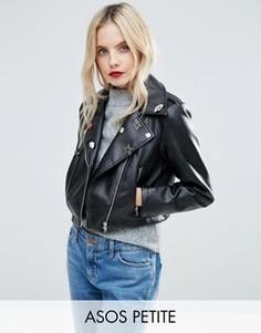 Байкерская куртка из искусственной кожи со значками ASOS PETITE Ultimate - Черный