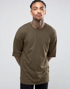 Зеленая длинная oversize-футболка с укороченными рукавами ASOS - Зеленый